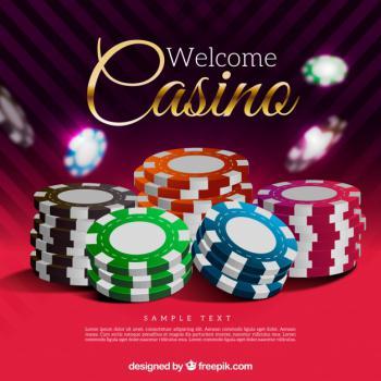 Casino-teksti ja pelimerkkipinoja
